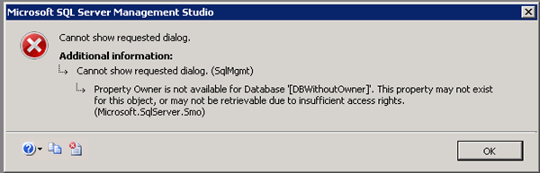 SSMS 2008 error opening database properties