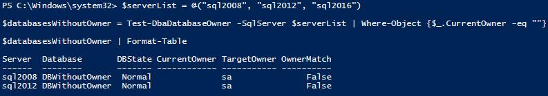 Test-DbaDatabaseOwner_default_mutipleServers